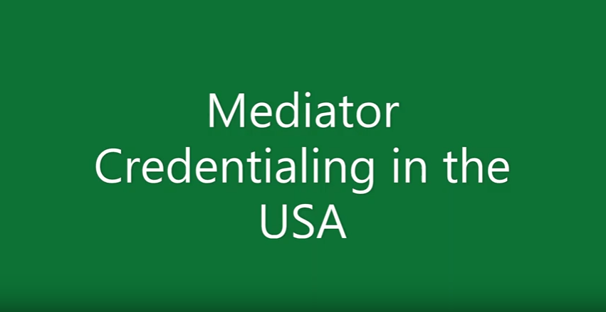 Mediator credentialling in the USA